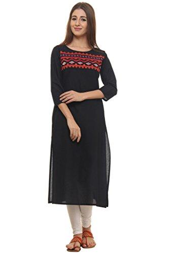 GULMOHAR JAIPUR Women's Cotton Embroidered 3/4 Sleeve Kurti