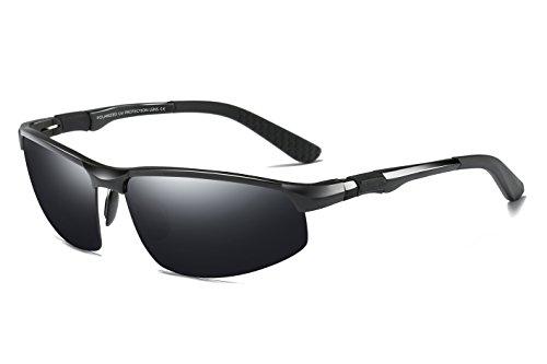 WHCREAT Herren Fahren Polarisierte Sonnenbrille Outdoor Sport Brillen Unzerbrechlich AL-MG Rahmen - Schwarz Rahmen Schwarz Linse