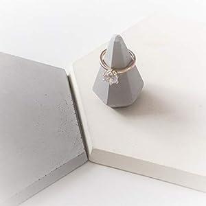 Atelier Ideco – Grauer Diamant Ringhalter, Schmuckaufbewahrung Aus Beton Für Valentinstag