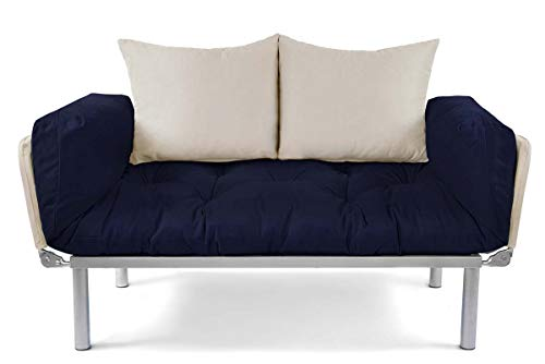 EasySitz Schlafsofa Sofa 2 Sitzer Klein Couch 2-Sitzer Schlafsessel für Zweisitzer Personen Mein Futon Sitzen EIN Einer Farbauswahl (Marineblau & Creme)