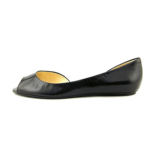 Nine West Bachloret Cuir Chaussure Plate Black Leather