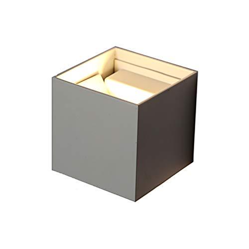 Topmo-plus 12w lampada da parete a led con angolo regolabile/applique a led per esterni/interni impermeabile ip65 / puri cob/illuminazione a parete quadrato 10cm (grigio/bianco caldo)