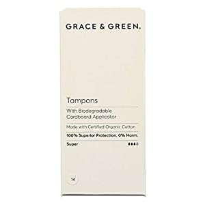 Grace & Green, 100% Organic Cotton Tampons with Biodegradable Applicator