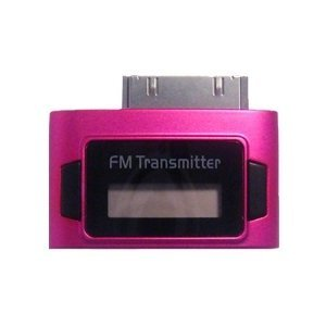 Pink Exeze Pico 5 FM Transmitter for iPhone, iPhone 3G, iPhone 3GS, iPhone 4, iPod Nano 3G, iPod Nano 4G, iPod Nano 5G, iPod Touch, iPod Touch 2G, iPod Classic all models, iPad all models - Ultra Small - No cables or batteries needed