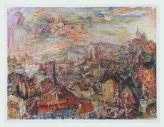Bild mit Rahmen Oskar Kokoschka - Prag, von der Villa Kramar - Alimunium silber matt, 77.2 x 60.0cm - Premiumqualität - MADE IN GERMANY - ART-GALERIE-SHOPde