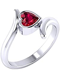 Voylla Silver Ring for Women (Red/Silver)(8907617156835)