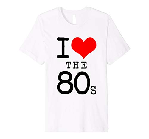 Classic I Love the 80s White T-shirt for Adults or Kids