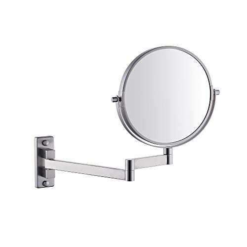 KES SUS 304 Edelstahl Bad 5x Vergrößerung Zweiseitig Schwenkbar Wandhalterung Spiegel 8-Zoll, Gebürstet, BWM201M5-2