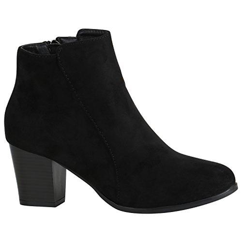 Klassische Damen Stiefeletten Leder-Optik Boots Block Absatz 151546 Schwarz Velours 41 Flandell