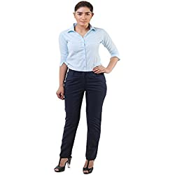 Lee Marc Women's Slim Fit Formal Pant(Blue Ladies Formal Trouser_28, Blue, 28)