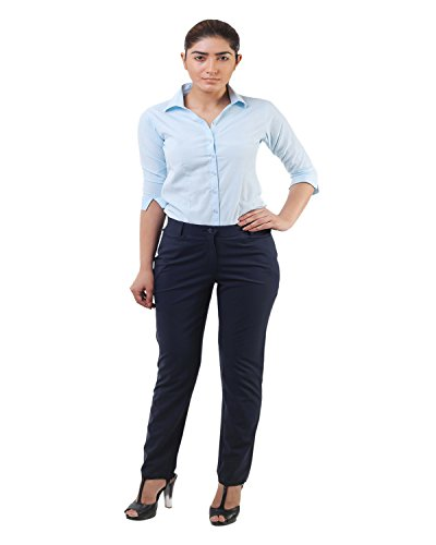 Lee Marc Women's Slim Fit Formal Pant(Blue Ladies Formal Trouser_36, Blue, 36)