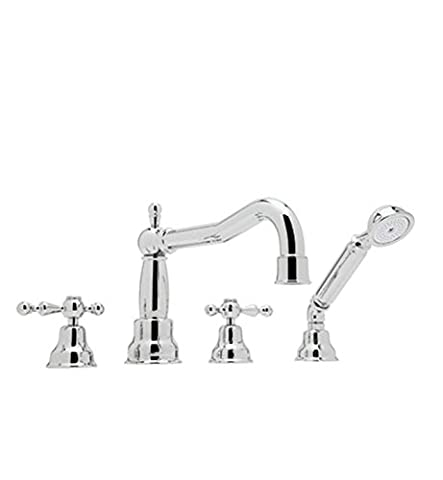 Rohl AC262OP-STN Arcana Four Hole Deck Mounted Roman Bathtub Filler Set with Column Spout and Handshower with Ornate White Porcelain Levers and Satin