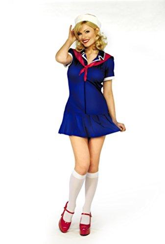 Mix lot Damen, Damen Fräulein Sailor Sexy Fantasie-Kostüm Komplettes Outfit Größen 36-38 / 40-42 / 44/46 (X / groß, königsblau)