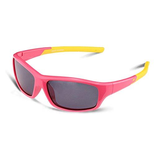 Duco kids sport stile polarizzato occhiali da sole in gomma telaio flessibile per ragazzi e ragazze (rosa 005)