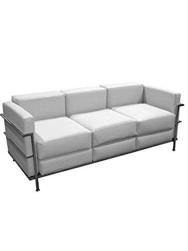 PIQUERAS Y CRESPO Modelo Salobre - Sofa de Modulo/espera de tres plazas - Tapizado en similpiel color blanco