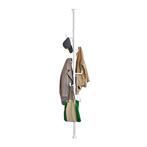 SoBuy® Garderobe, Kleiderständer, Garderobenständer mit 6 Haken, ohne Bohren Verstellbar, 214cm-275cm hoch, weiß, FRG159-W