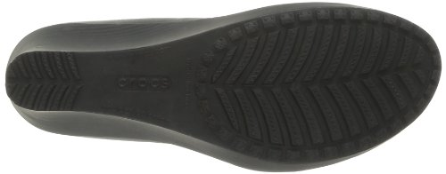 Crocs - Zoccoli A-Leigh Closed Toe Wedge, Donna Nero (Black/Black)