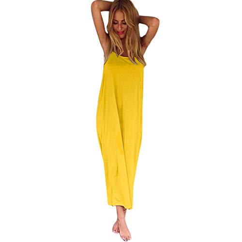 Edwardian Muster Kostüm - OrchidAmor 2019 Damen Fashion Sexy Big U rückenfrei Solid Sling Lose Long Rock Strandkleid - Gelb - Mittel
