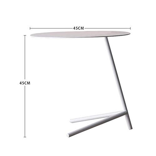 Tables HAIZHEN Pliable Côté Fer, Petit Coin Simple Rond, Noir, Blanc (Taille 2) Stations de Travail informatiques (Couleur : Blanc)