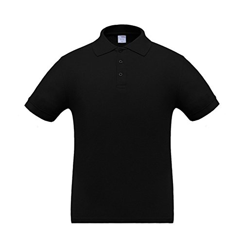 Bmeigo Herren Baumwolle Athletic Casual Poloshirt Colored Blank Kurzarm Black