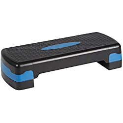 Ultrasport Horse Rider Step/Stepper de aeróbic, Unisex Adulto, Negro/Azul, Altura Regulable