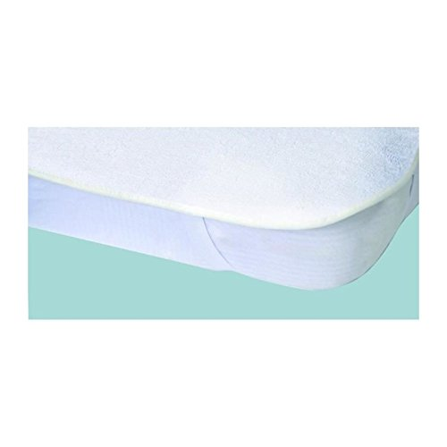 Protege-matelas imperméable Elasretane éponge bouclette 100% coton 90x190 cm blanc