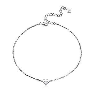 ChicSilver Boho Schmuck Fashion 22cm+5cm Fußkette auch als Armband Freundschaftkette aus 925 Sterling Silber schöne Herz/Mond/Topas/Davidstern personalierte Damen Schmuck für Elegant Frauen Mädchen