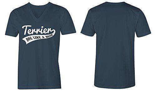 Terrier Dog Like A Boss ★ V-Neck T-Shirt Männer-Herren ★ hochwertig bedruckt mit lustigem Spruch ★ Die perfekte Geschenk-Idee (03) dunkelblau