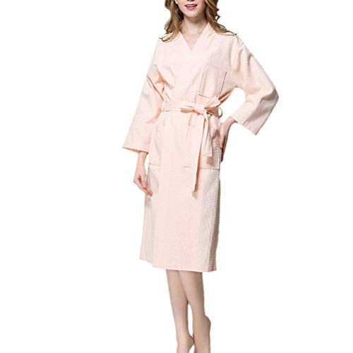 Women's Luxury Waffle Robes Unisex Dressing Housecoat Gowns Quality Cotton Jungen Chic Nightwear Loungewear Bademantel (Color : Pink, Size : XL)