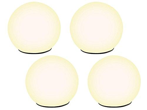 Lunartec Solar Kugel: Solar-Glas-Leuchtkugel warmweiß mit Dämmerungsschalter 4er-Set (Solar Kugelleuchten)