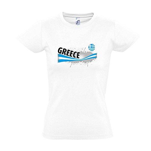 Fanshirt-Damen GREECE, Griechenland Ländershirt EM / WM Trikot S-XXL , White , XXL