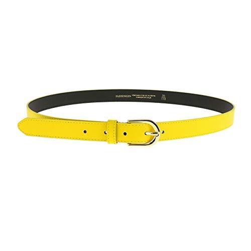 Cinturón amarillo de fiesta para mujer de piel auténtica