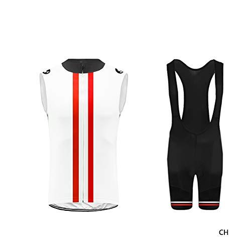 Uglyfrog Cycling Vest Costumi da Ciclismo per Uomini - Uniforme da Bicicletta a Maniche Corte Traspirante con Cuissard a Bretelle in Gel 3D per Abiti da Bicicletta PRO HI2019VJV01