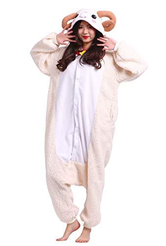 suit Tier Pyjamas Kostüm Fasching Onesie Damen Herren Karneval Cosplay Nachtwäsche, Schaf ()