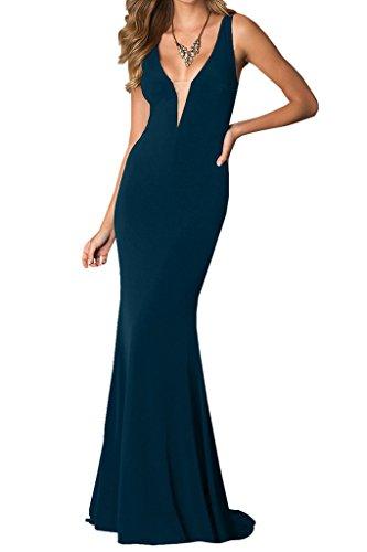 Ivydressing Damen Sexuell Etui-Linie Lang Chiffon Festkleid Promkleid Abendkleid Tintenblau