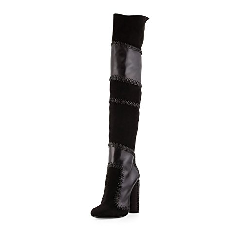 SHOFOO - Femmes - Bottes - Noir - Cuir synthétique - Talon bloc - Bout rond fermé Noir