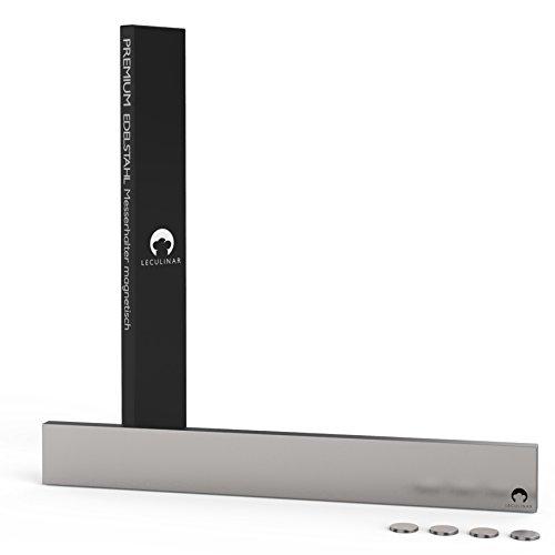 LECULINAR Premium Edelstahl Messerhalter magnetisch | Extra starker Halt | Rostfrei | Messerleiste Magnetleiste für Messer | 40 cm | Optimal organisierte Aufbewahrung | Inklusive 4 BONUS Magnete (Küche Messer Magnetleiste)