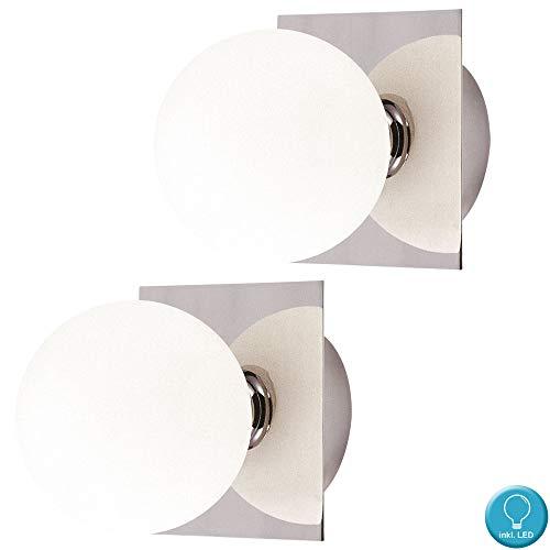 Ensemble de 2 lumières plafond balle ronde en verre lumières blanches appliques murales mis incl. Lampes LED