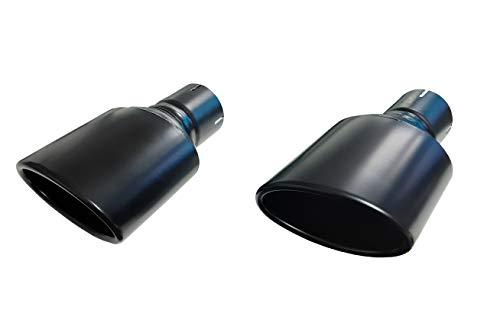 Duplex Endrohre Auspuffblende oval schwarz 120x80mm 50mm Anschluß Edelstahl Exclusiv Edition Black