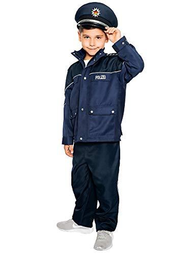 Authentische Polizei Kostüm - Maskworld Authentische Polizei-Uniform für Kinder - Polizist Kinder-Kostüm für Karneval Fasching & Halloween - Verkleidung Anzug Größe 104