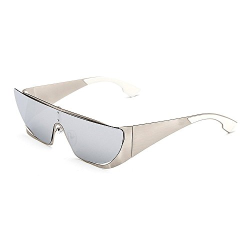 Herren Polarisierte Sonnenbrille One-Piece Lens Style Damen Oversized Cat Eyes Sonnenbrille Metallrahmen UV-Schutz Sonnenbrille für Männer und Frauen Bunte große Linse Fahren Sonnenbrillen UV400 Ret