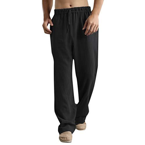 Mymyguoe Pantalones de Moda para Hombre Estilo de Lino Flojo...