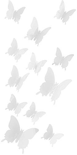 Schmetterlinge in 3D Wandsticker mit Klebepunkten Wandtattoos - Farbe (Weiß)
