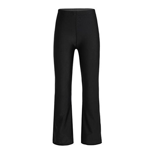 Tiaobug Kinder Mädchen Lange Hosen Bequeme Loose Fit Pants Stretch Hose Schwarz für Tanz Jazzpants Schwarz 152/12 Jahre