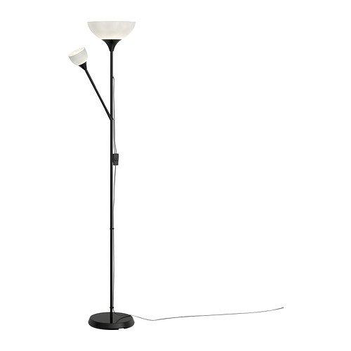 Ikea NOT-Lámpara de pie con lámpara de lectura plástico negro, 176cm