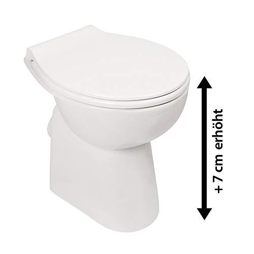 Stand-WC-Set +7 cm | Spülrandlos | Erhöhtes WC | Inklusive WC-Sitz | Für Senioren und große Menschen | Tiefspüler | Abgang waagerecht | Weiß | Spülrandlose Toilette | Spülrandloses WC | Stand-WC | Einfache Reinigung - 4