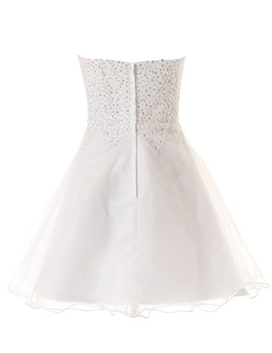 Dresstells, A-ligne sweetheart robe courte à paillettes organza, robe de cocktail / bal blanche Blanc