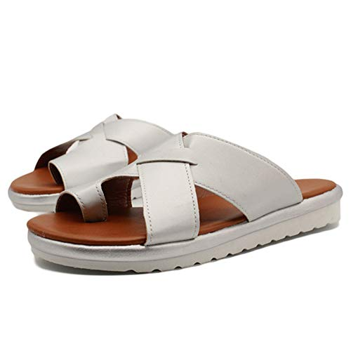 HBBLX Correzione Sandalo Shoes Ciabatte Alluce Valgo Summer Beach Travel Slittata Resistente all'Usura Aiuta A Ridurre Il Dolore al Piede Infra-Alluce Protezione Borsite,Silver,38