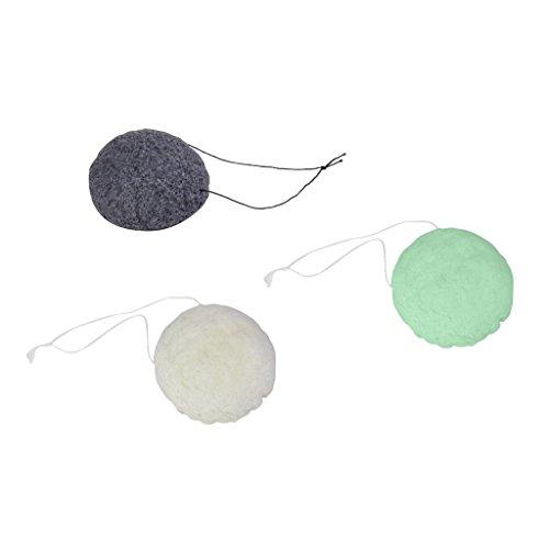 Lot de 3pcs Eponge Konjac de Visage Nettoyage de Visage - Blanc Noir et Vert
