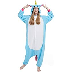 Pyjama Licorne Kigurumi Adulte Animal Cosplay Costume Sleepwear Combinaison Jumpsuit Halloween Carnaval Licorne Bleu S